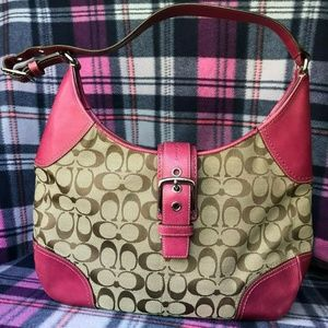 COACH F12640 SMALL SHOULDER Pink Leather.